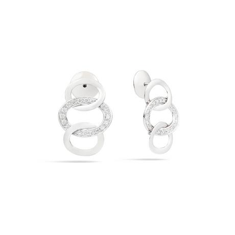 Pomellato Pomellato 18kt witgouden gerhodineerde Brera oorstekers  met witte diamant