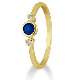 Private Label CvdK 14kt geelgouden ring met saffier en diamant