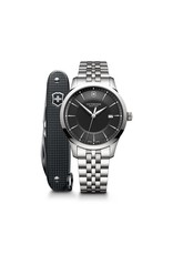 Victorinox Victorinox Alliance Quartz 40mm, Zwarte wijzerplaat met edelstalen band inclusief Swiss Army Knife