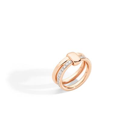 Pomellato Pomellato Iconica 18k Rosegouden Ring met diamanten pavé gezet