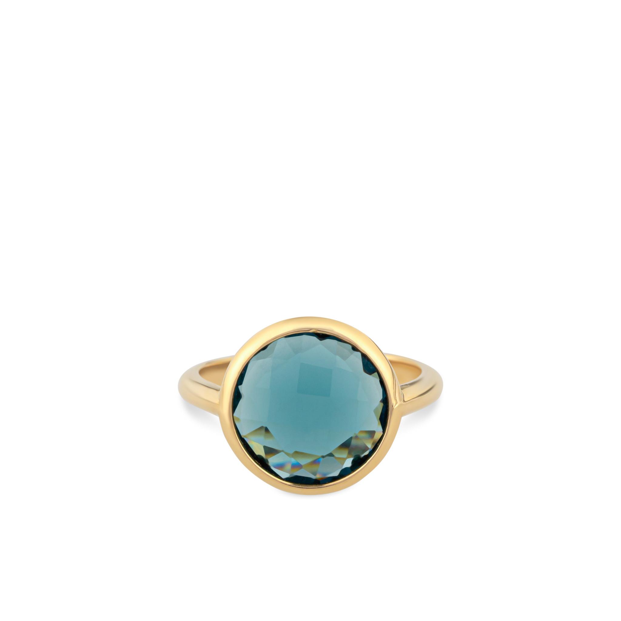 Italo Bottene Italo Bottene 14 kt. geelgouden ring met London Blue Topaas