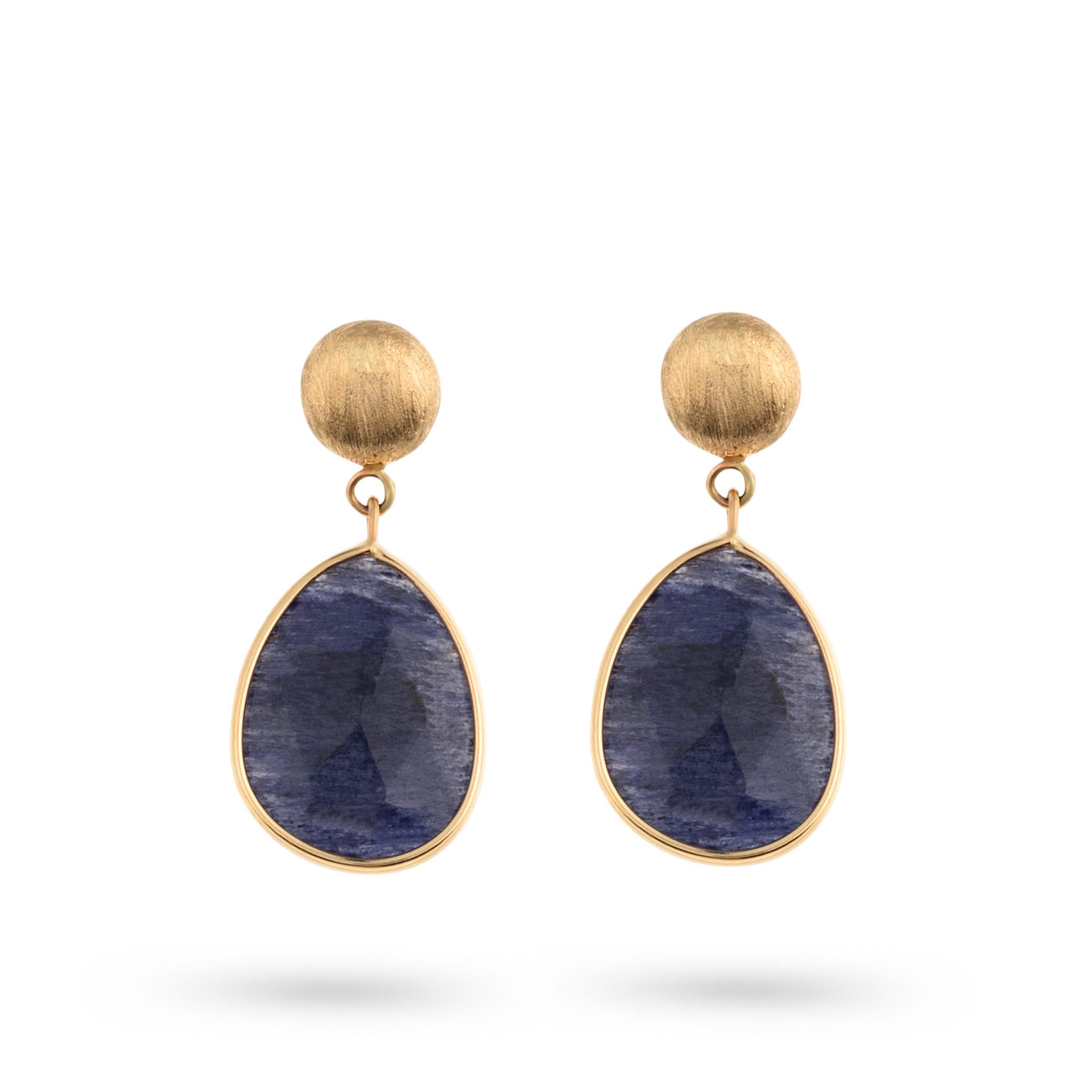 Italo Bottene Italo Bottene Tinta 14kt geelgouden oorhangers met blauw quartz