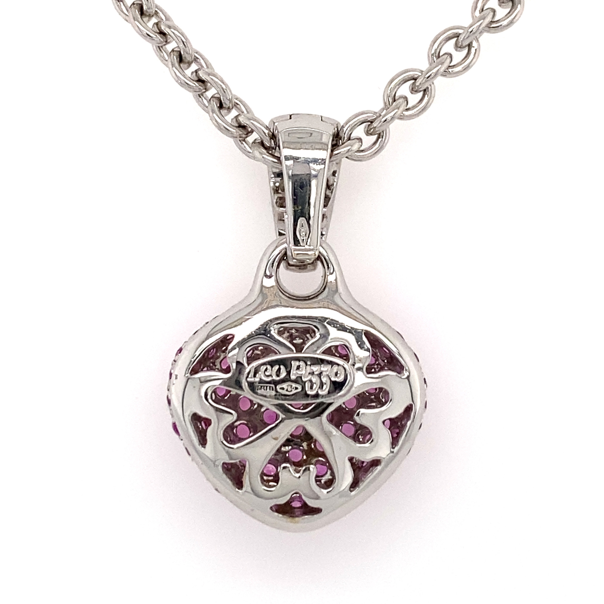 Leo Pizzo Leo Pizzo Amore hart hanger met roze saffier en witte diamant