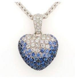 Leo Pizzo Leo Pizzo Amore 18 krt. witgouden hart hanger met saffier en diamant