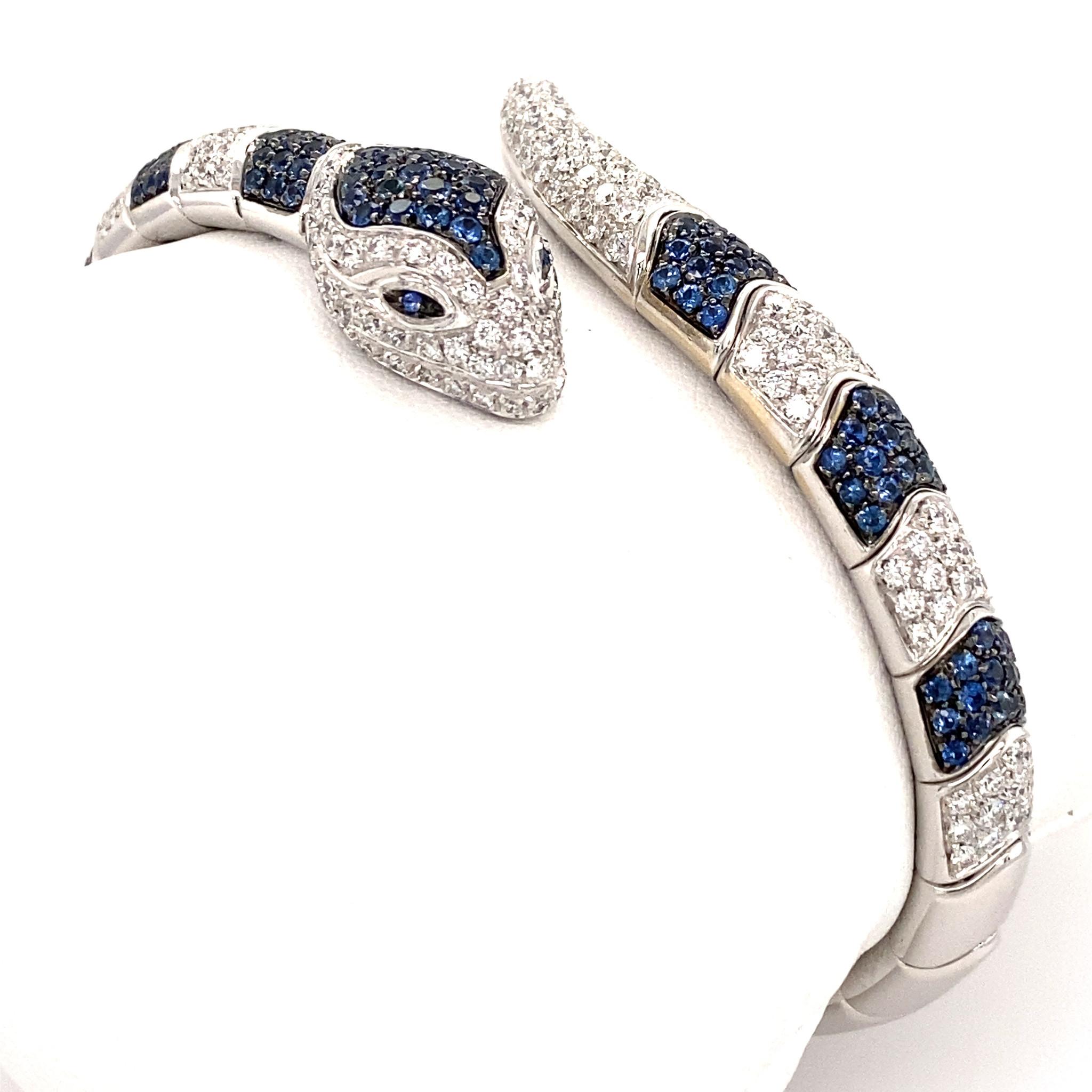 Leo Pizzo Leo Pizzo Animalia slangarmband met blauwe saffier en witte diamant