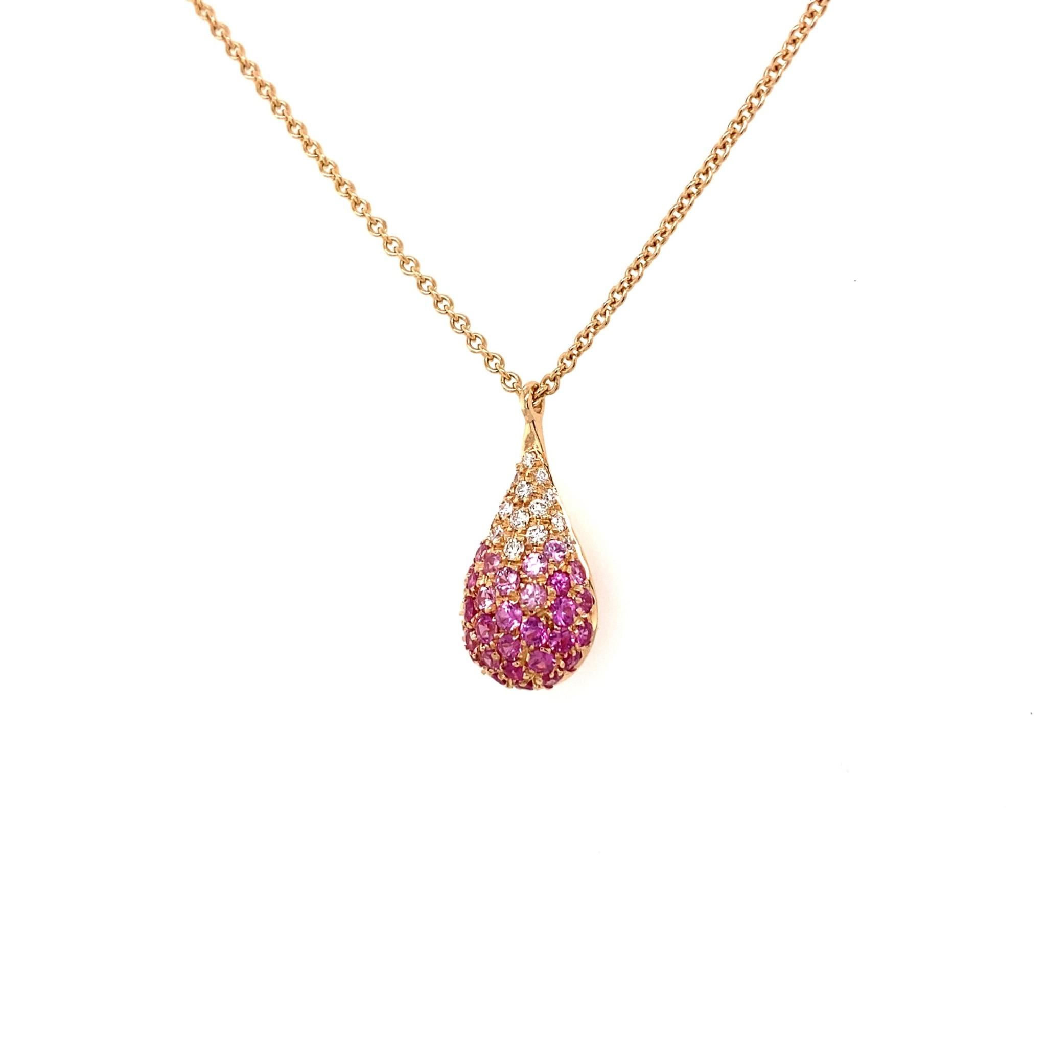 Leo Pizzo Leo Pizzo 18k roségouden ketting en druppelhanger met roze saffier en diamant