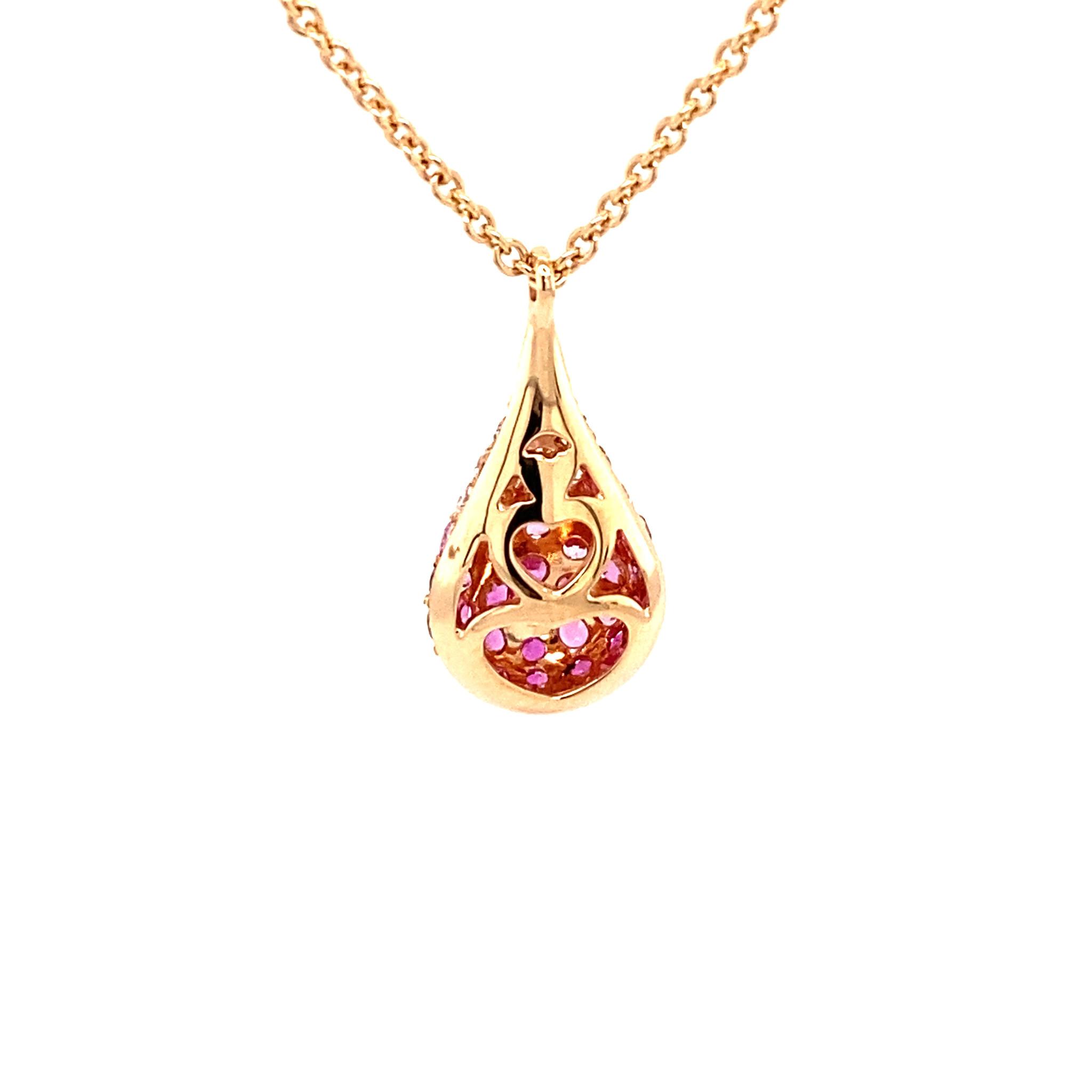 Leo Pizzo Leo Pizzo collier en druppelhanger met roze saffier en diamant