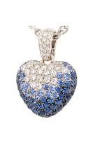 Leo Pizzo Leo Pizzo Amore 18 krt. witgouden hart hanger met blauwe saffier en witte diamant