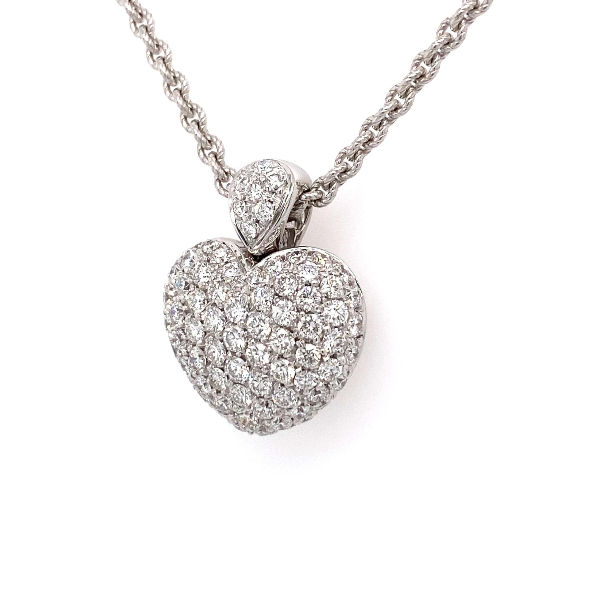 Leo Pizzo Leo Pizzo Amore witgouden collier en hart hanger met diamant