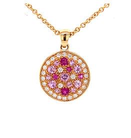Leo Pizzo Leo Pizzo 18k. roségouden ketting en hanger met roze saffieren en diamant