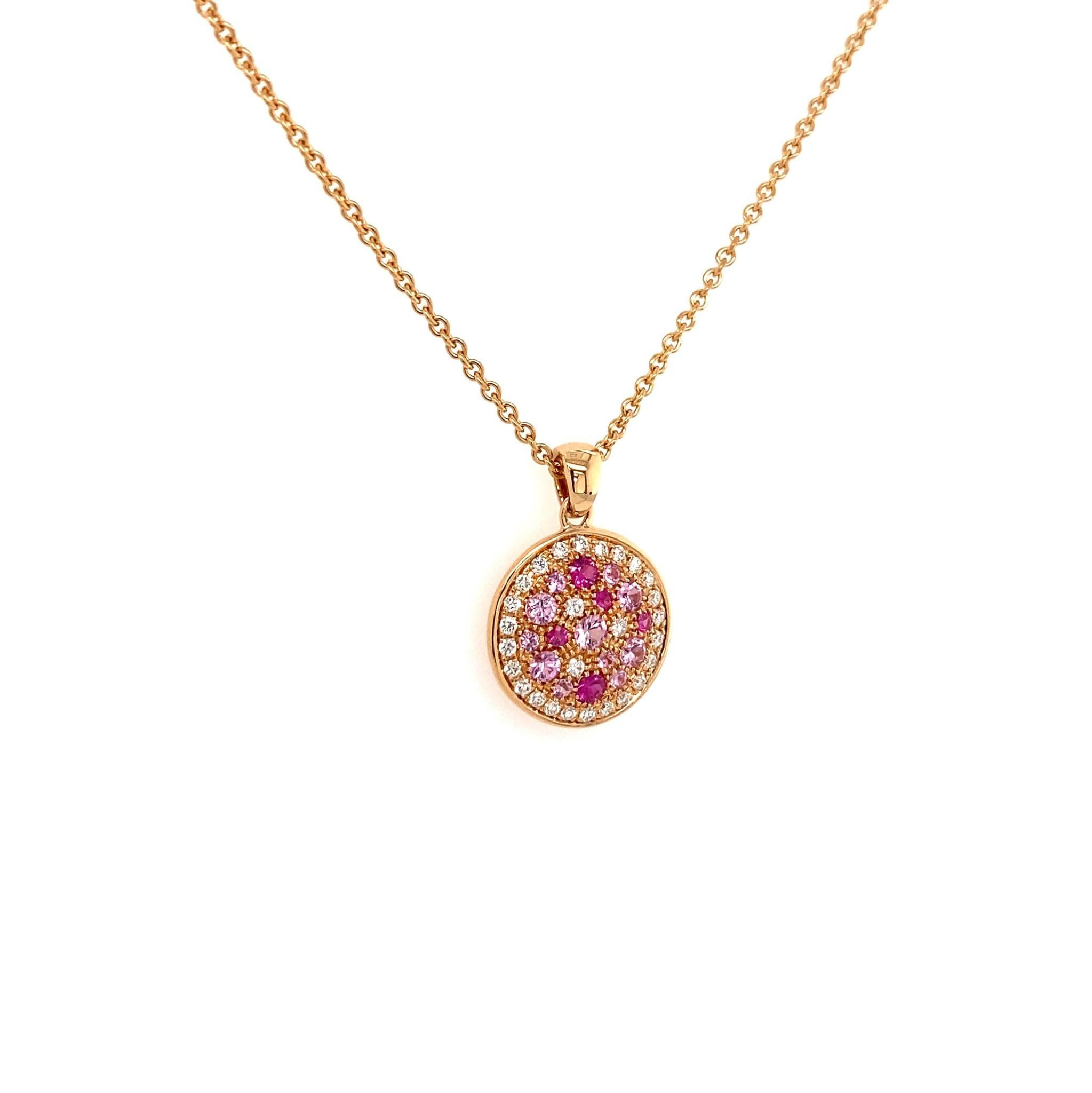 Leo Pizzo Leo Pizzo collier en hanger met roze saffieren en diamant