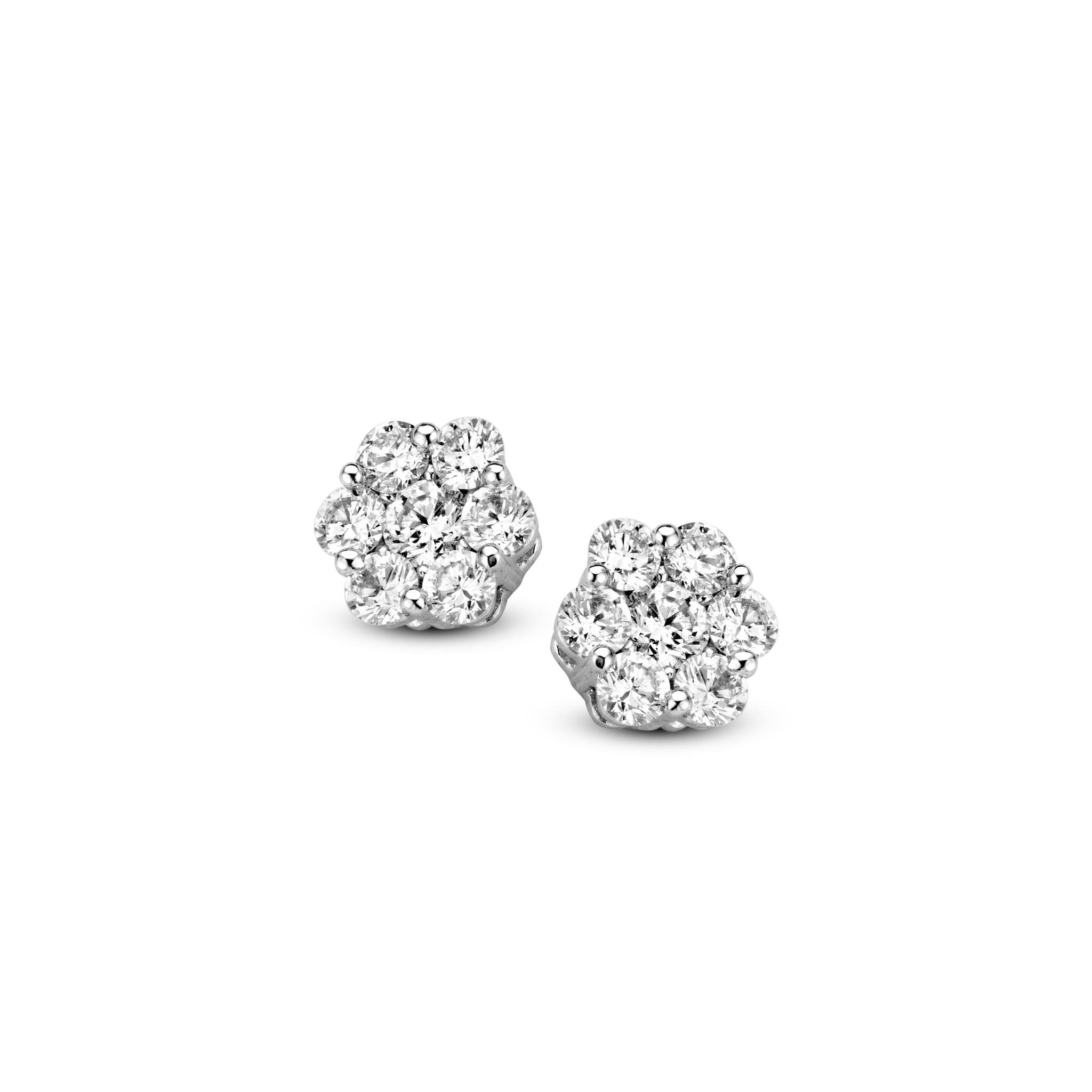 Private Label CvdK Een paar 14 krt. witgouden entourage oorknoppen met diamant, 14 x briljant geslepen, totaal 0,30 ct. H/SI