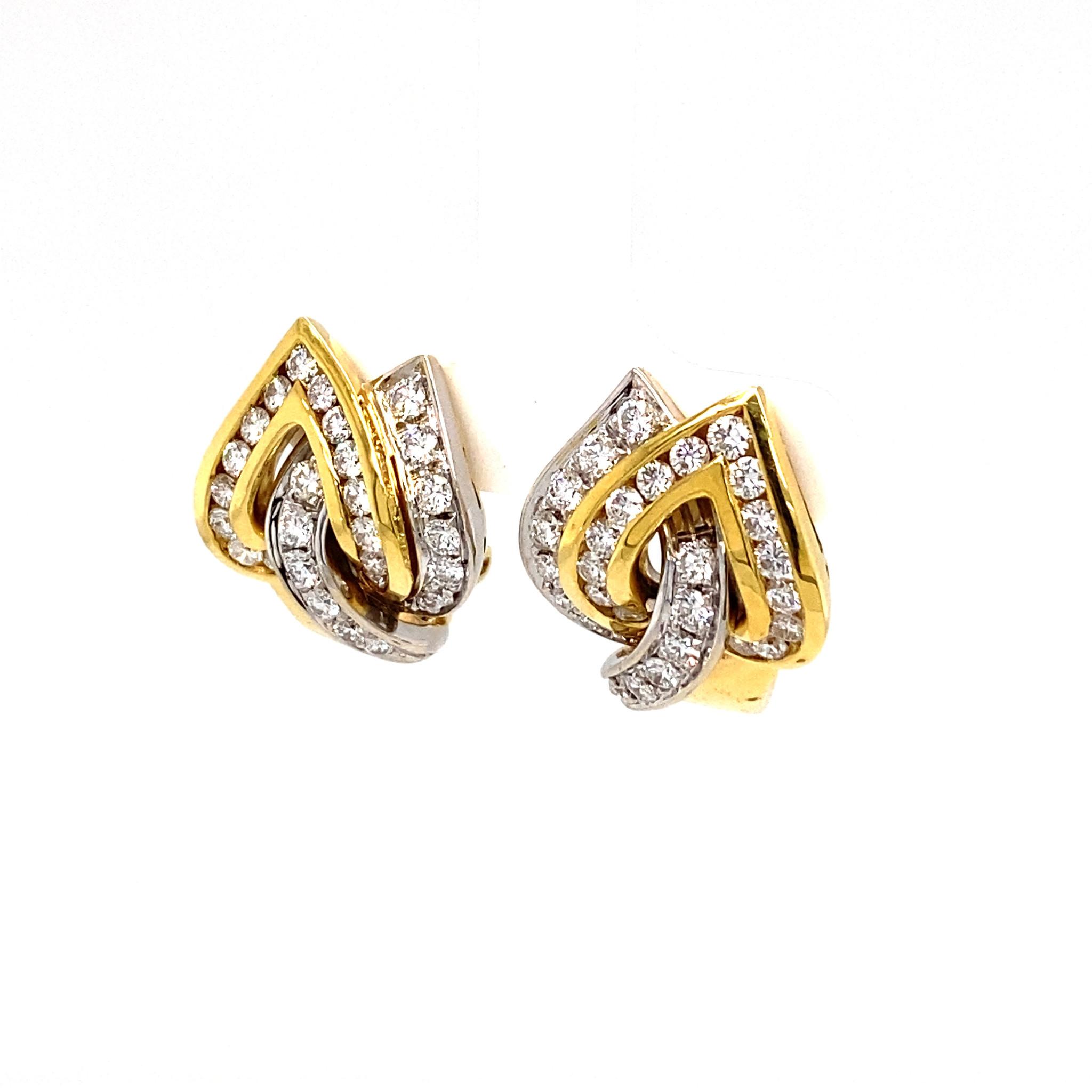 Leo Pizzo Leo Pizzo wit- en geelgouden oorbellen met diamant