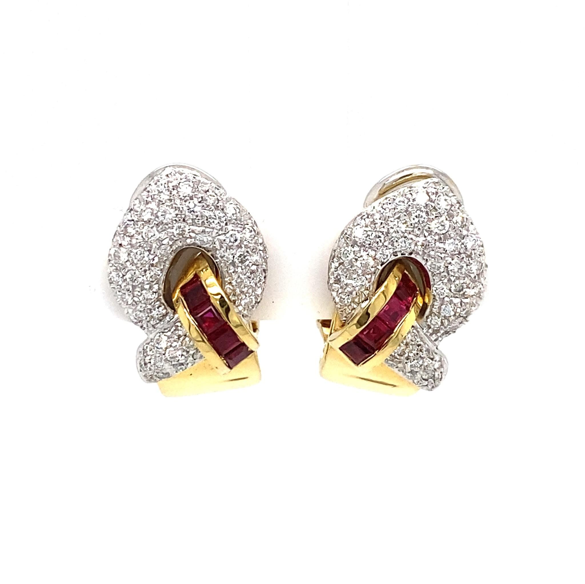 Leo Pizzo Leo Pizzo gouden oorbellen met robijn en diamant