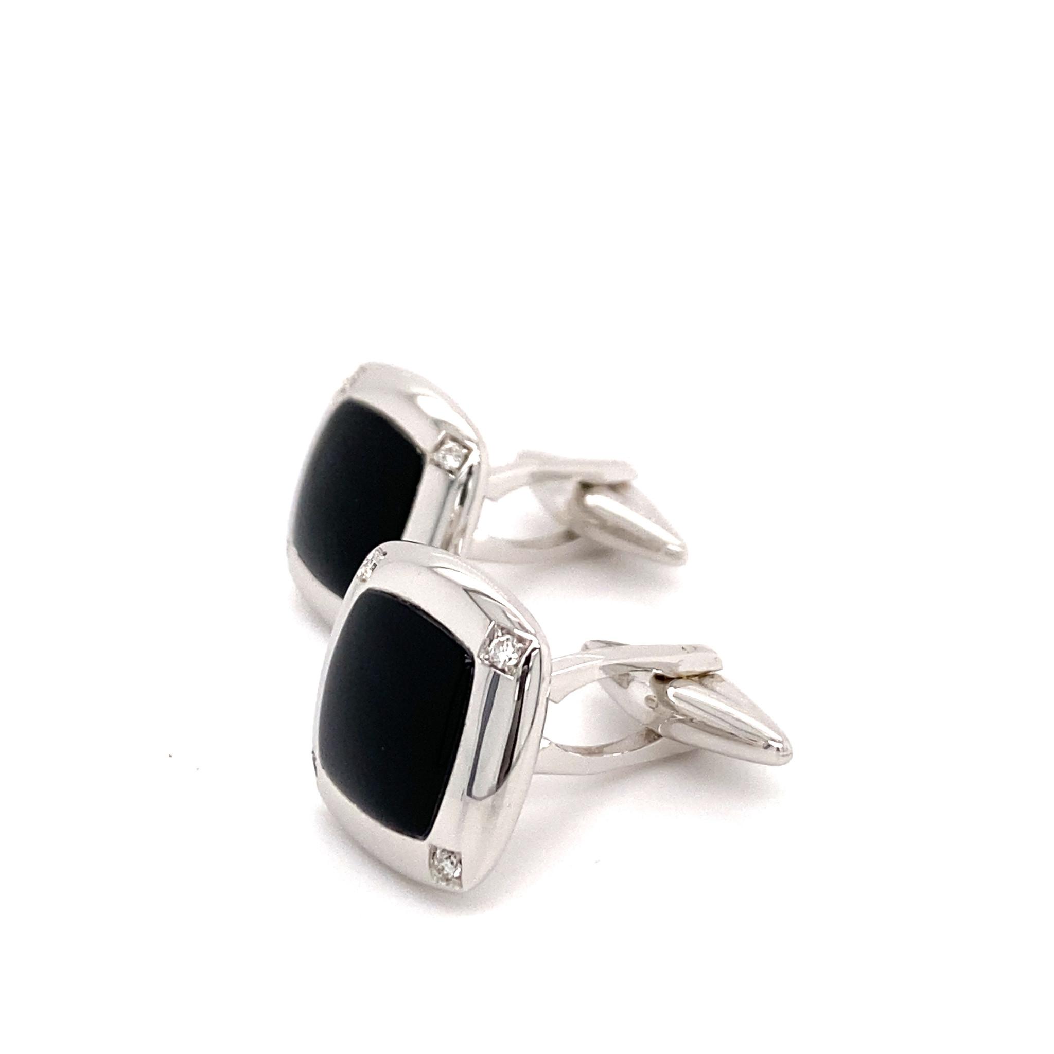 Leo Pizzo Leo Pizzo manchetknopen met onyx en diamant