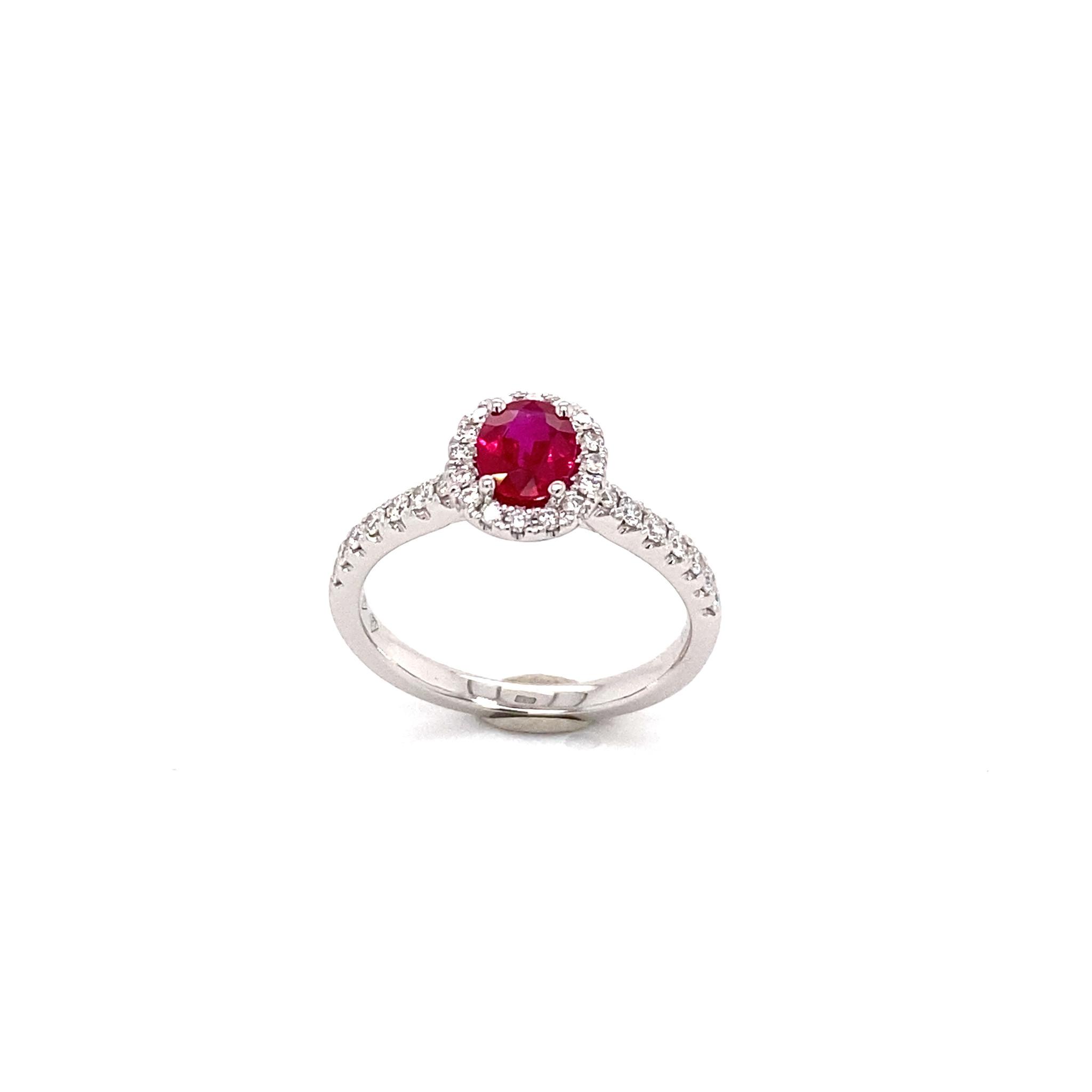Private Label CvdK Private Label CvdK witgouden halo ring diamanten/robijn
