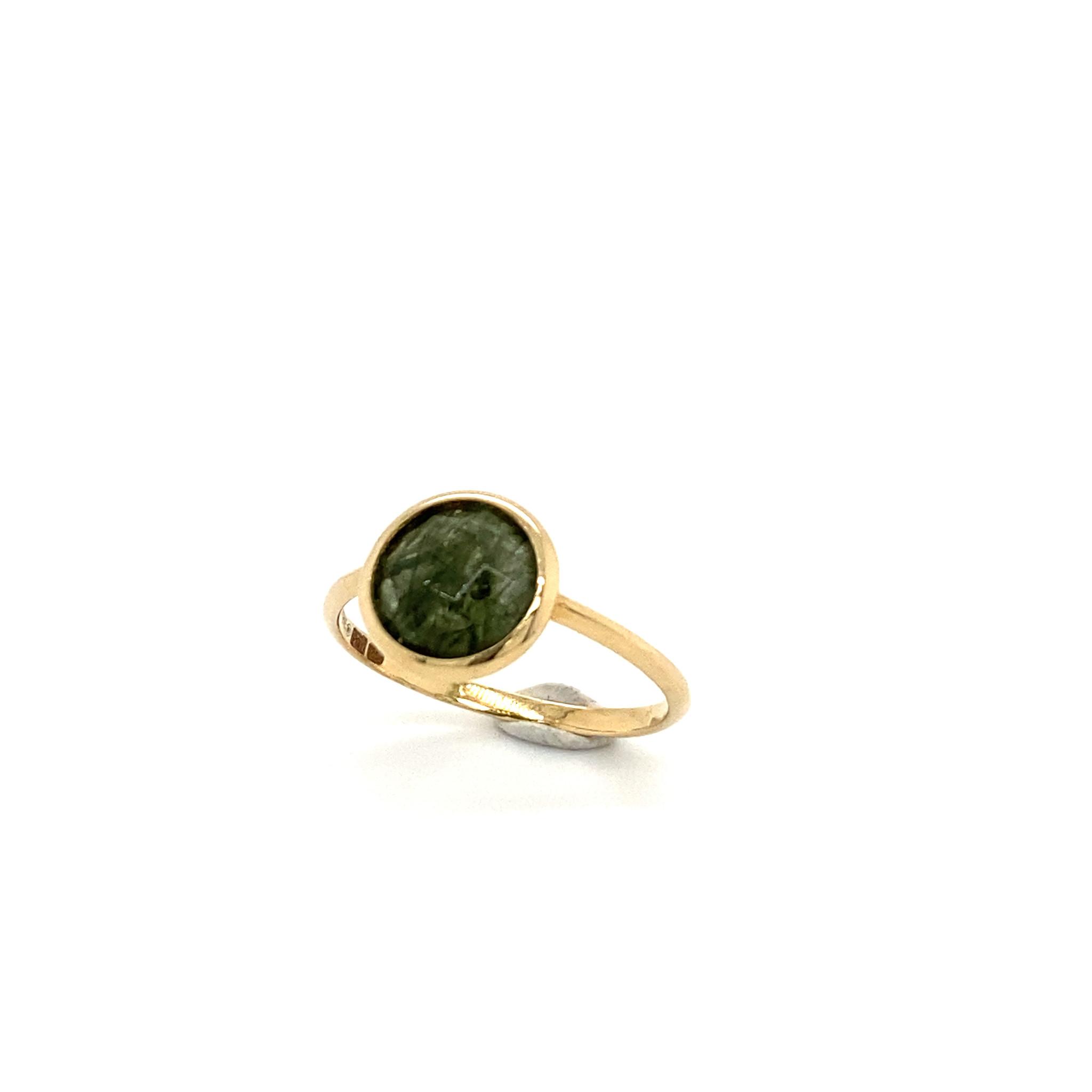 Italo Bottene Italo Bottene geelgouden ring  groene rutile kwarts