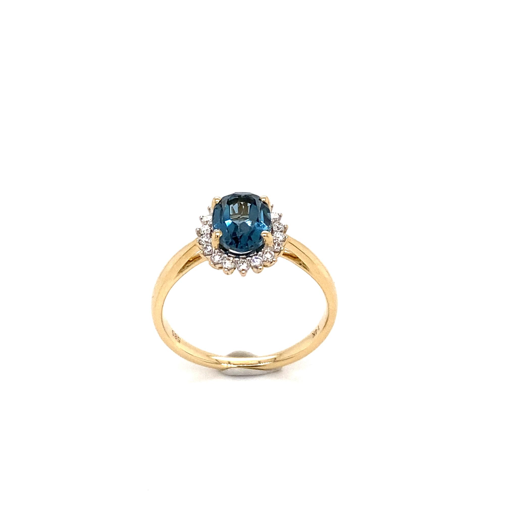 Private Label CvdK Private Label CvdK gouden halo ring diamant/topaas