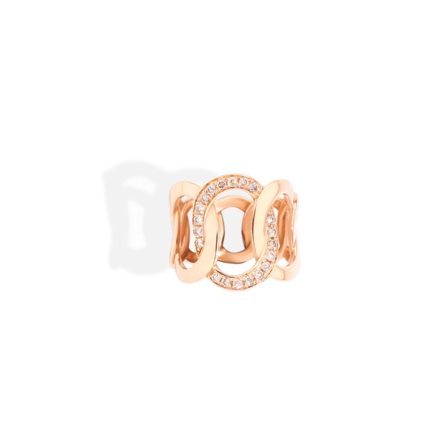 Pomellato Pomellato Brera ring in 18 krt. roségoud met cognac diamanten