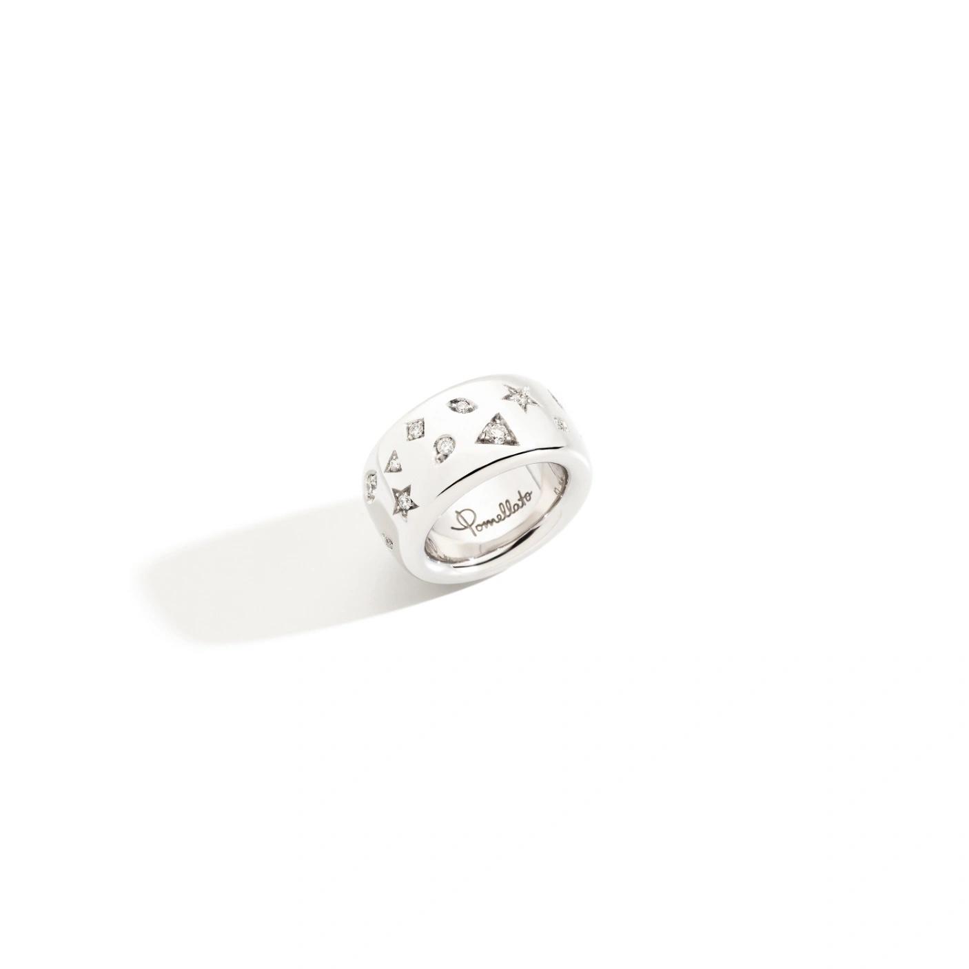 Pomellato Pomellato Iconica ring in 18 krt. witgoud met witte diamanten