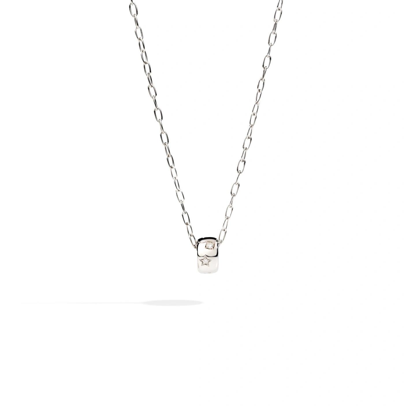 Pomellato Pomellato Iconica collier in 18 krt. witgoud met hanger met witte diamanten