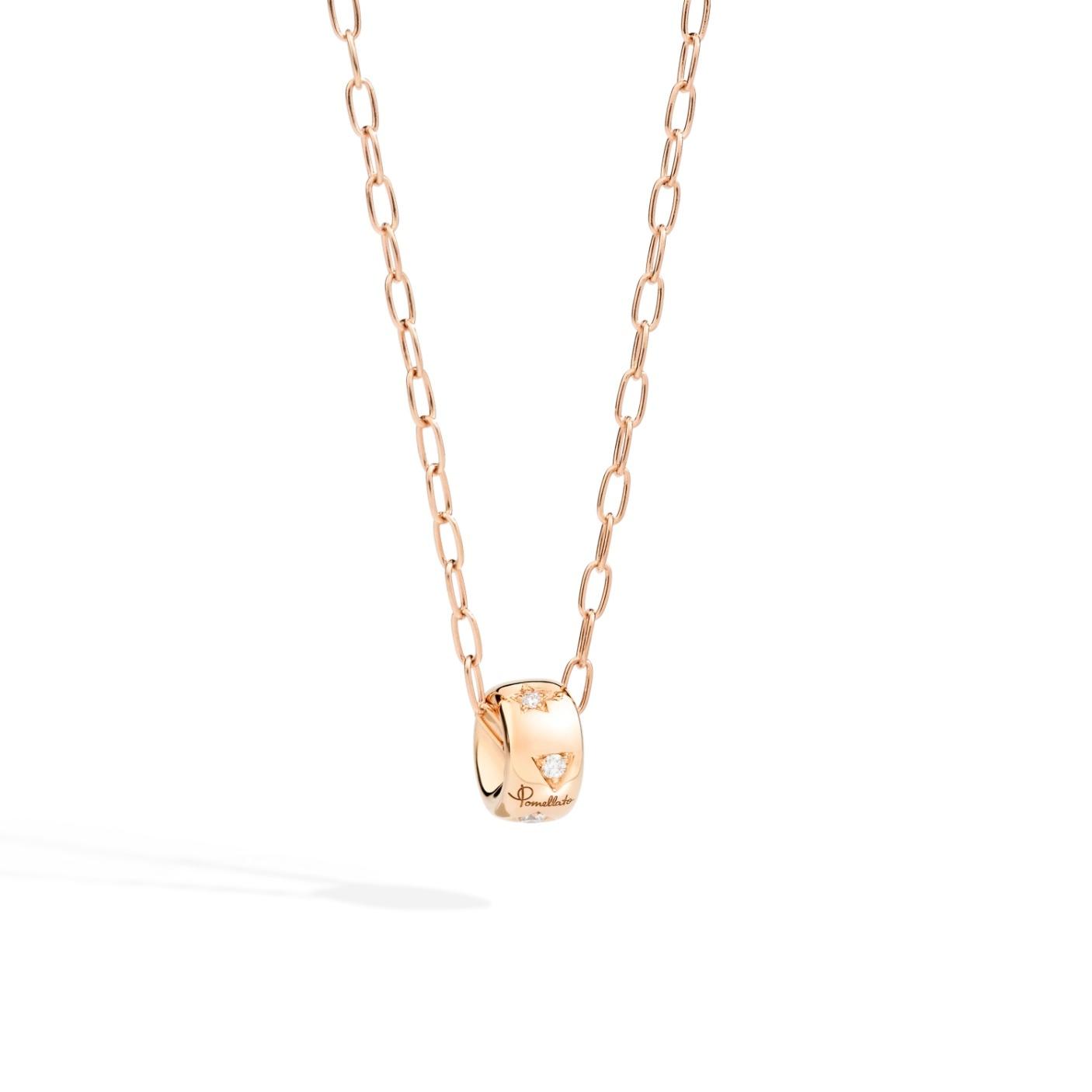 Pomellato Pomellato Iconica collier in 18 krt. roségoud met hanger met witte diamanten