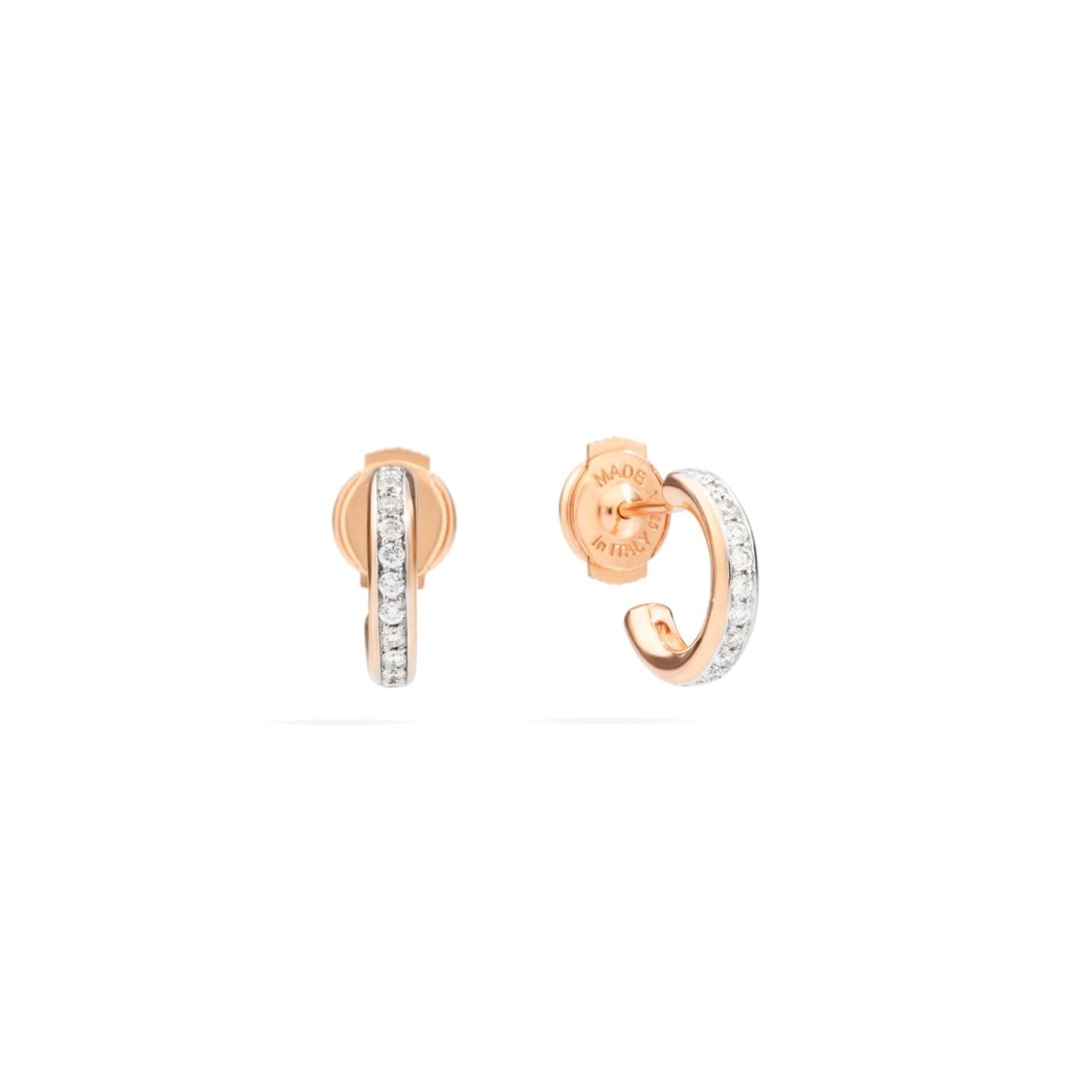 Pomellato Pomellato Iconica oorstekers in 18 krt. roségoud  met witte diamanten