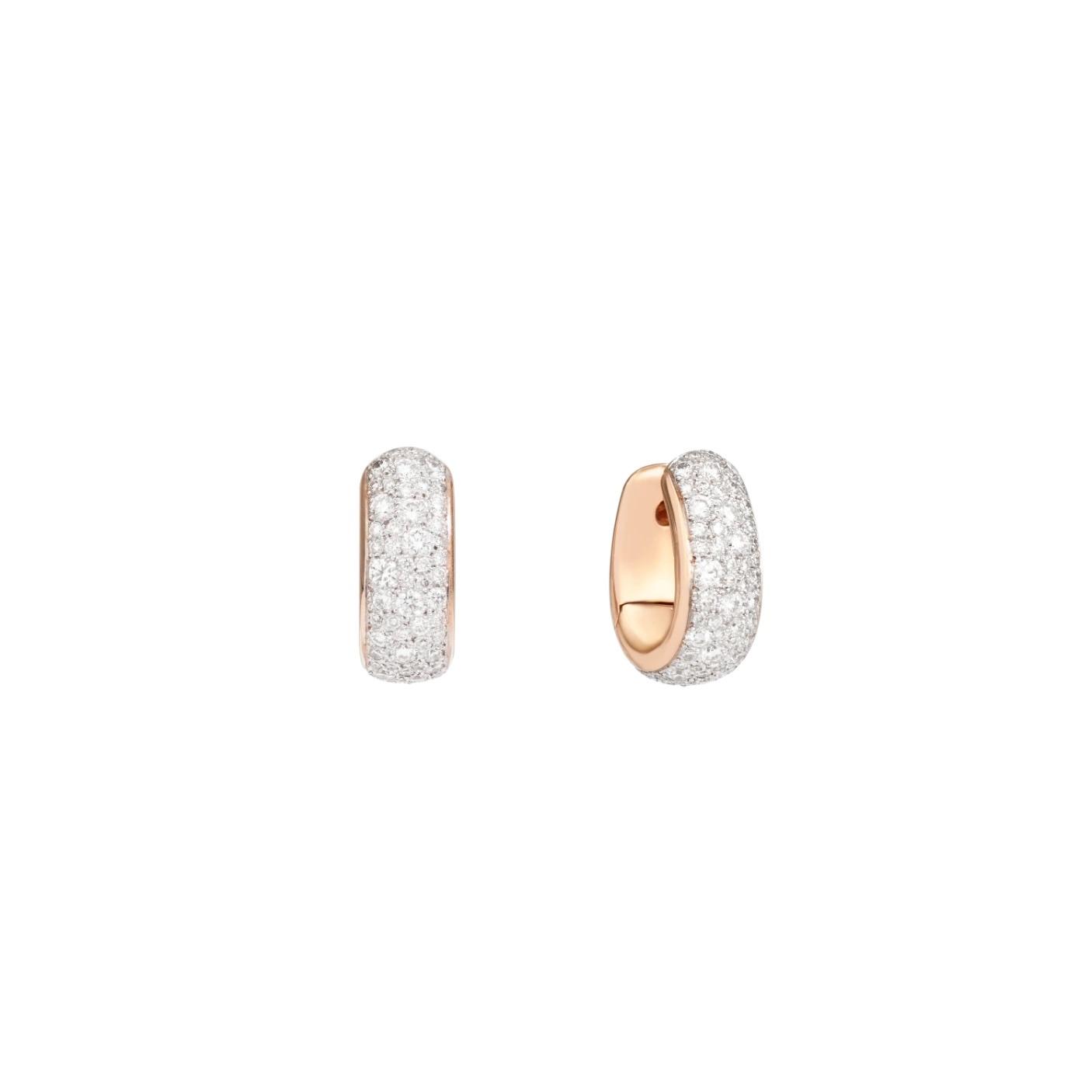 Pomellato Pomellato Iconica oorringen in 18 krt. roségoud met witte diamanten