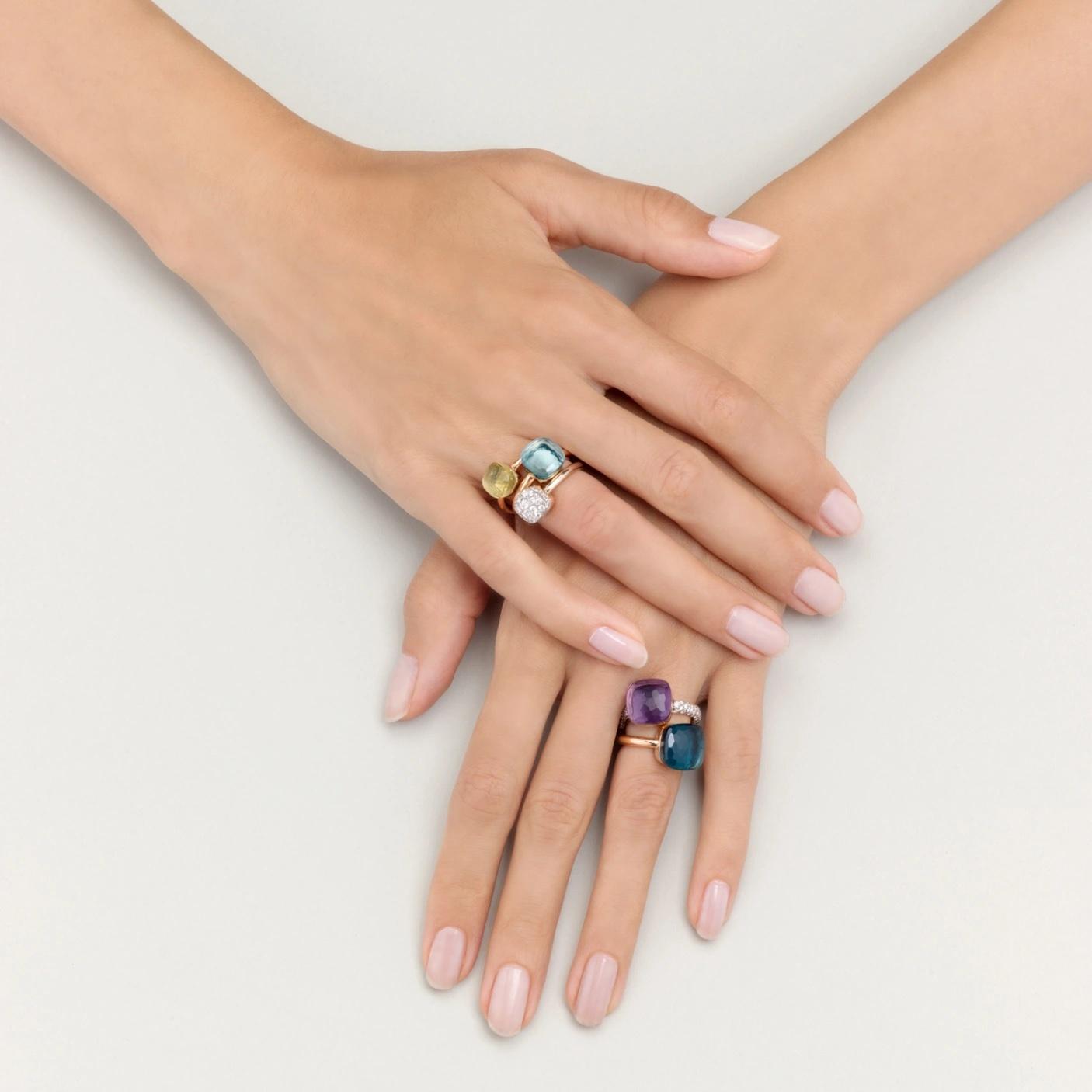 Pomellato Pomellato Nudo Maxi ring in 18 krt. roségoud met London blue topaas
