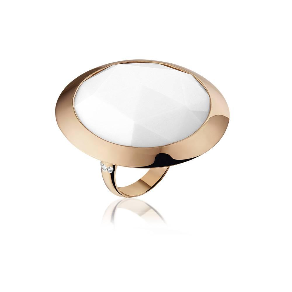 Casato Casato ring met diamant en witte opaal