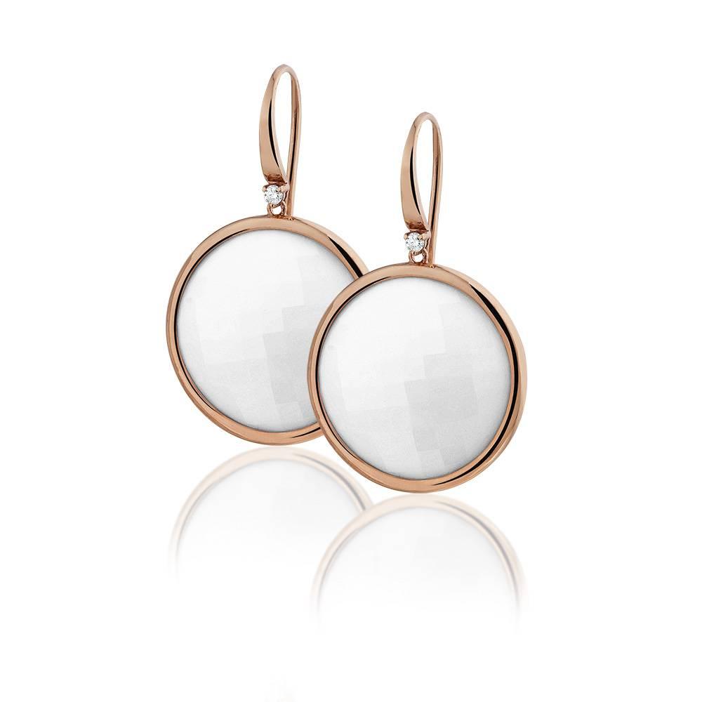 Casato Casato oorhangers met diamant en witte opaal
