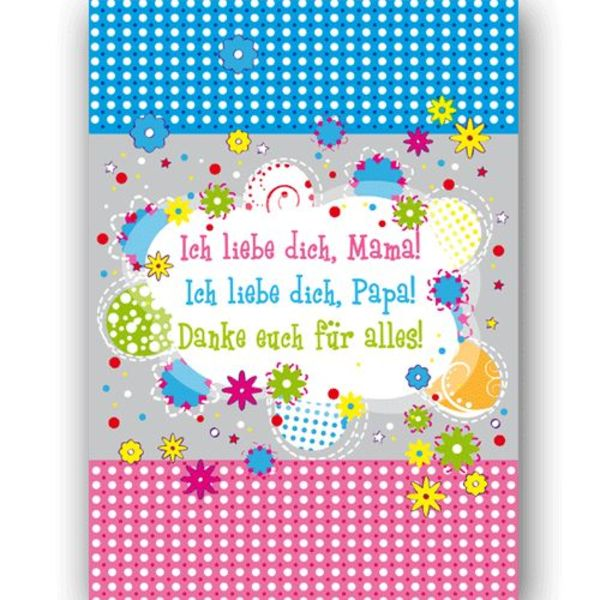 Ich liebe dich Mama, ich liebe dich Papa - Postkarte XL
