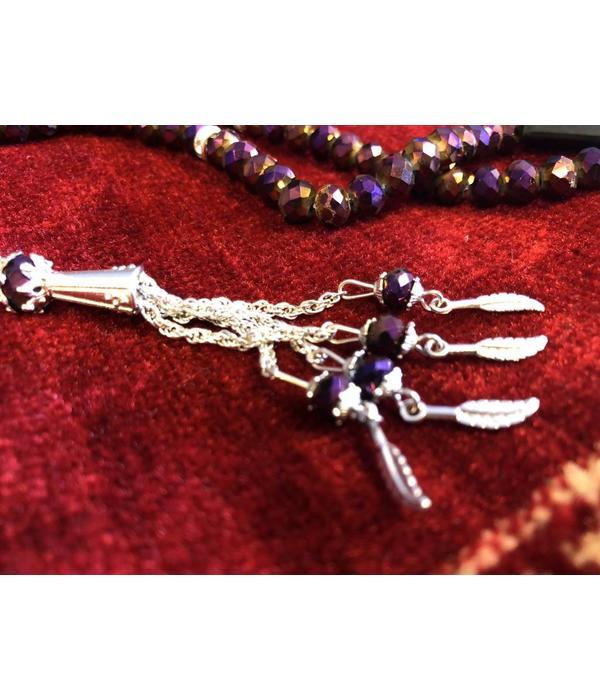 Gebetskette - Tesbih 99 Steine (Crystal/Lila)
