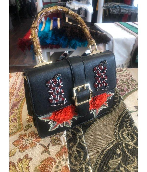 Damenhandtasche Schwarz Blume