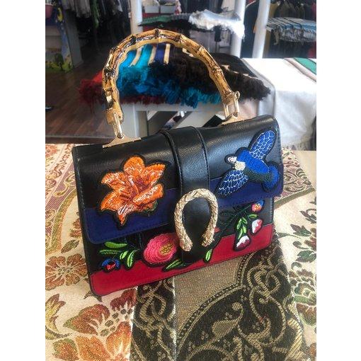 Damenhandtasche Schwarz Vogel