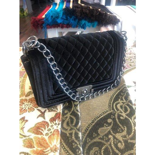 Damenhandtasche Stoff Karo Schwarz