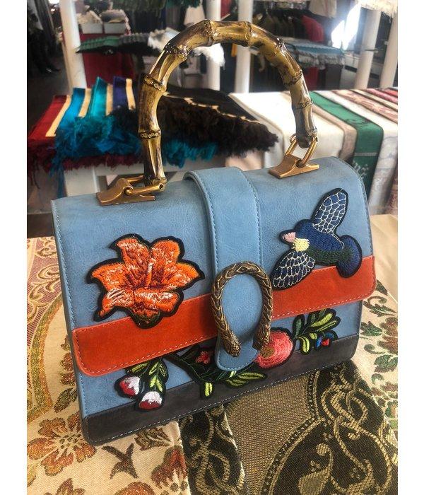 Damenhandtasche Hellblau Vogel