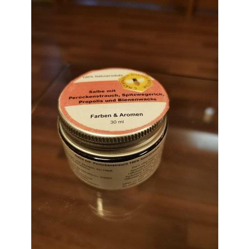 Salbe mit Perückenstrauch, Spitzwegerich, Propolis und Bienenwachs (30ml)