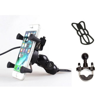CLAW Mirror Mount motorcycle smartphone holder (X-Grip) with wireless charger