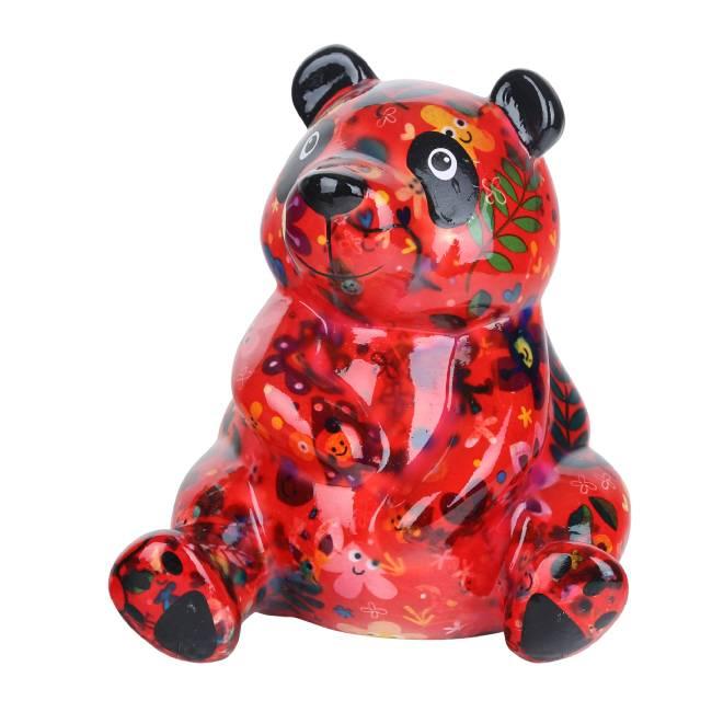 Spaarpot Panda Zsa Zsa rood met takken
