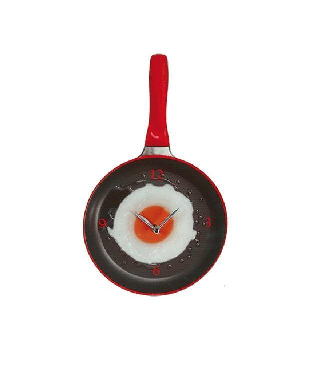 Wandklok Koekenpan met Spiegelei - rood