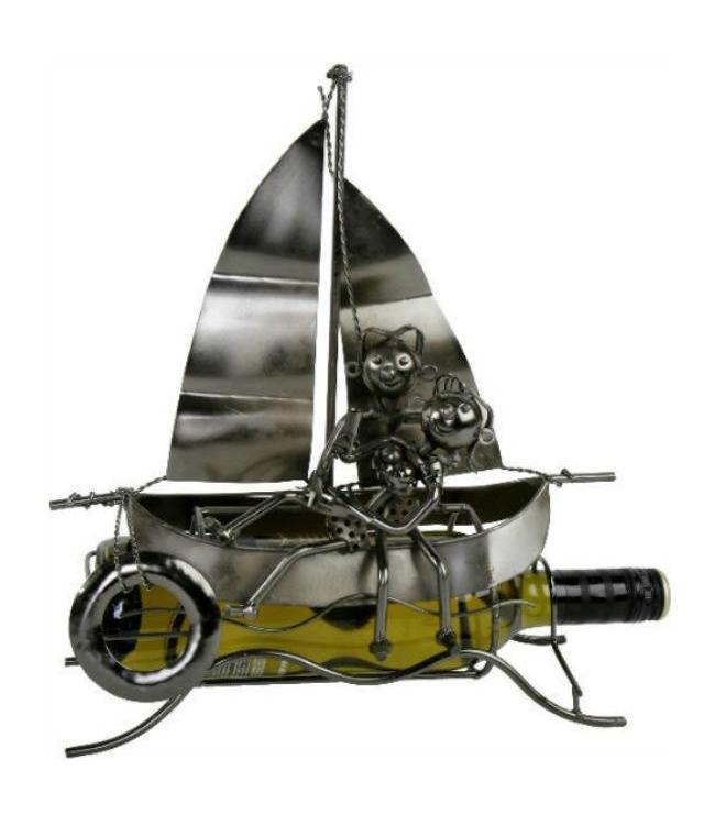 Wijnfleshouder Liefdespaar op de boot