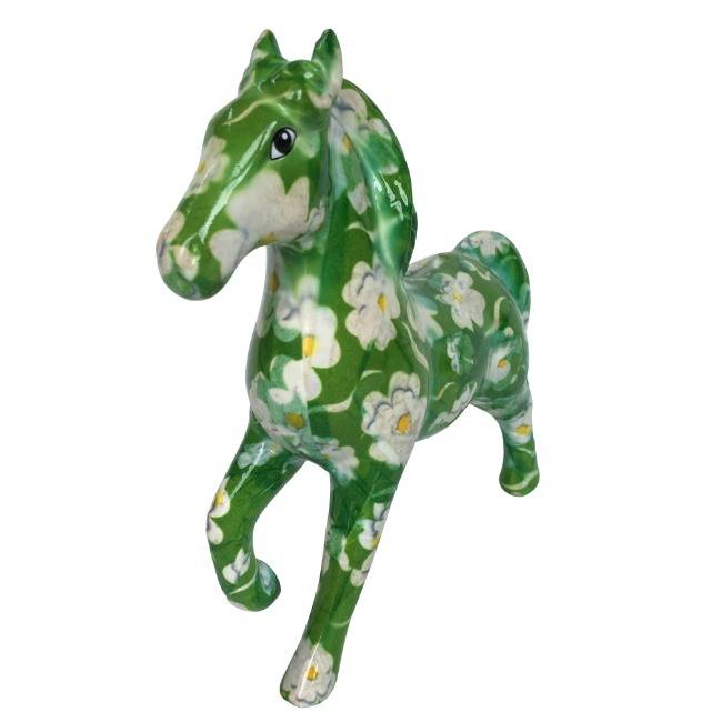 Spaarpot Paard Lucky Groen met bloemen