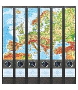 Rugetiket Kaart van Europa 6 etiketten