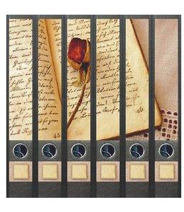 File Art Rugetiket Boek en Roos 6 etiketten