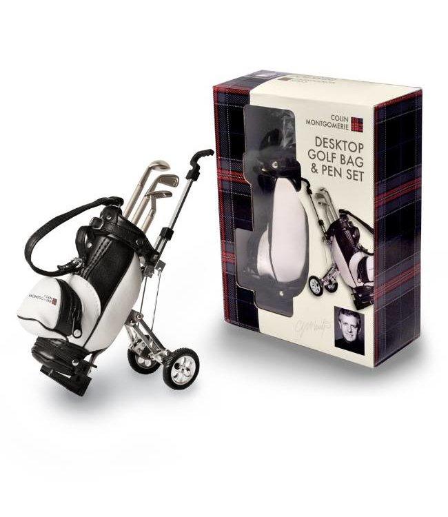 Colin Montgomerie Bureau Golftas Pennenset en golftrolley Desktop