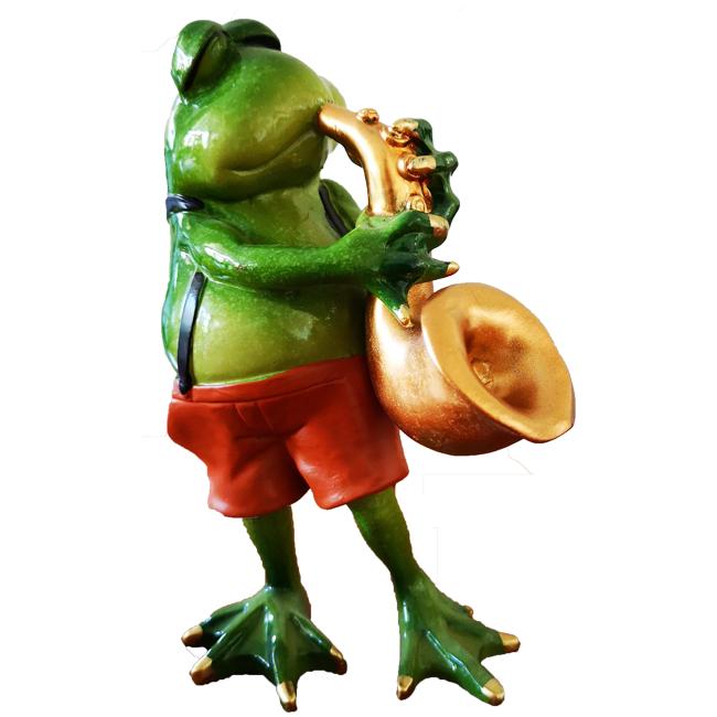 Beeldje Kikker Saxofoon