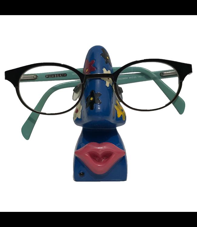 Brillenhouder Blauw Met Bloemen