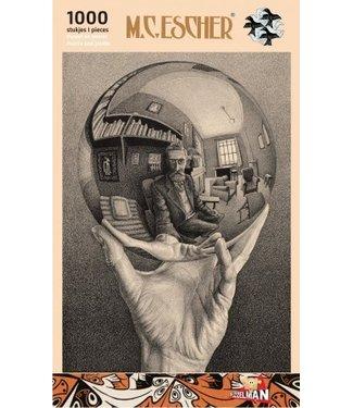 Puzzel Hand met Spiegelende Bol M.C. Escher (1000)