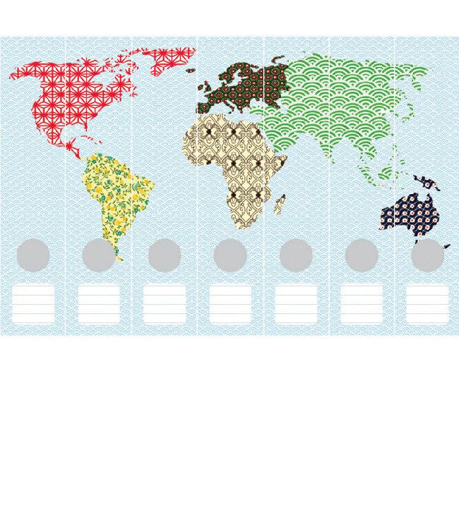 Ordneretiketten Wereldkaart